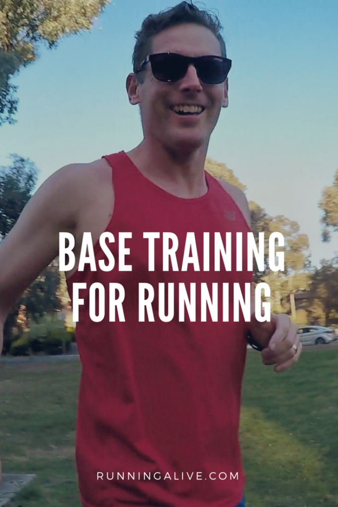 Base training for runners is more than lots of easy kilometres. Focus goes a long way. We need a good working definition of base training. Definition The point of base training is to develop a well balanced athlete capable of optimally responding to the stress of competition specific training. Manage The Load Care needs to be taken not to provide too great a stress. Too much intensity or high load can lead to: increased injury risk reduced immune response early peak in fitness No one wants to be injured or sick. An early peak in fitness can be costly for race day. Usually an early peak doesn't reach the same heights as one you build up to properly. Plus there is usually a performance slump following a peak performance.